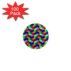 Seamless Rgb Isometric Cubes Pattern 1  Mini Magnets (100 Pack)
