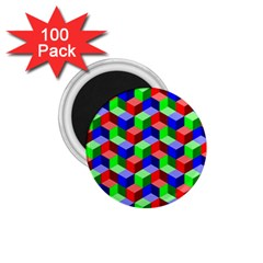 Seamless Rgb Isometric Cubes Pattern 1.75  Magnets (100 pack)