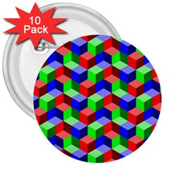 Seamless Rgb Isometric Cubes Pattern 3  Buttons (10 pack)