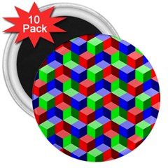 Seamless Rgb Isometric Cubes Pattern 3  Magnets (10 pack)
