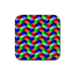 Seamless Rgb Isometric Cubes Pattern Rubber Square Coaster (4 Pack)