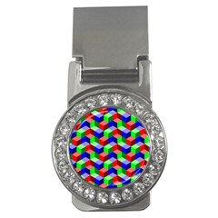 Seamless Rgb Isometric Cubes Pattern Money Clips (cz)