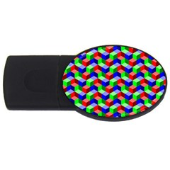 Seamless Rgb Isometric Cubes Pattern Usb Flash Drive Oval (2 Gb)