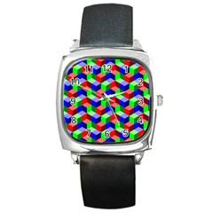 Seamless Rgb Isometric Cubes Pattern Square Metal Watch