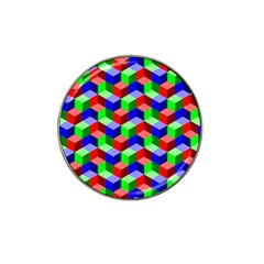 Seamless Rgb Isometric Cubes Pattern Hat Clip Ball Marker (10 Pack)