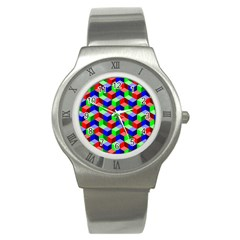 Seamless Rgb Isometric Cubes Pattern Stainless Steel Watch