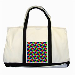 Seamless Rgb Isometric Cubes Pattern Two Tone Tote Bag