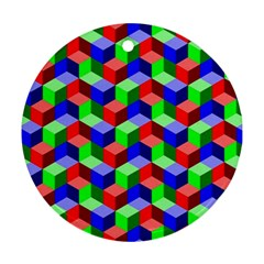 Seamless Rgb Isometric Cubes Pattern Round Ornament (two Sides)