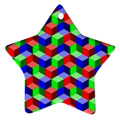 Seamless Rgb Isometric Cubes Pattern Star Ornament (Two Sides)