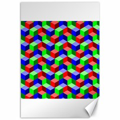 Seamless Rgb Isometric Cubes Pattern Canvas 12  x 18