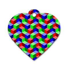 Seamless Rgb Isometric Cubes Pattern Dog Tag Heart (one Side)