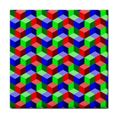 Seamless Rgb Isometric Cubes Pattern Face Towel