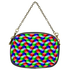Seamless Rgb Isometric Cubes Pattern Chain Purses (two Sides)