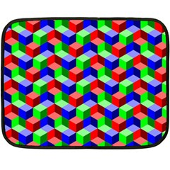 Seamless Rgb Isometric Cubes Pattern Double Sided Fleece Blanket (Mini)