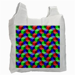 Seamless Rgb Isometric Cubes Pattern Recycle Bag (Two Side)