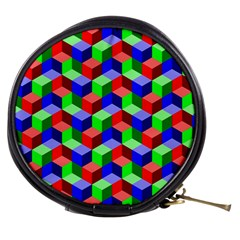 Seamless Rgb Isometric Cubes Pattern Mini Makeup Bags