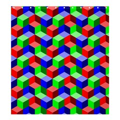 Seamless Rgb Isometric Cubes Pattern Shower Curtain 66  X 72  (large)