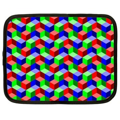 Seamless Rgb Isometric Cubes Pattern Netbook Case (xl)