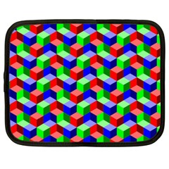 Seamless Rgb Isometric Cubes Pattern Netbook Case (xxl)
