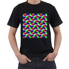 Seamless Rgb Isometric Cubes Pattern Men s T-Shirt (Black)