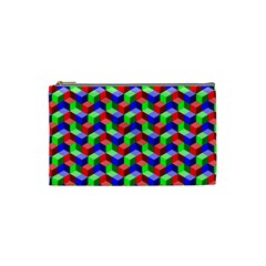 Seamless Rgb Isometric Cubes Pattern Cosmetic Bag (Small)