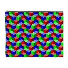Seamless Rgb Isometric Cubes Pattern Cosmetic Bag (XL)