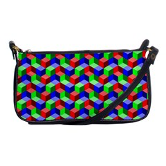 Seamless Rgb Isometric Cubes Pattern Shoulder Clutch Bags