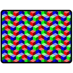 Seamless Rgb Isometric Cubes Pattern Fleece Blanket (large)
