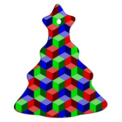 Seamless Rgb Isometric Cubes Pattern Christmas Tree Ornament (Two Sides)
