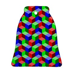 Seamless Rgb Isometric Cubes Pattern Bell Ornament (Two Sides)