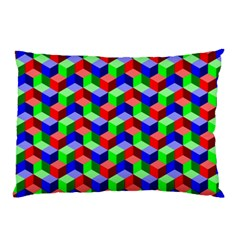 Seamless Rgb Isometric Cubes Pattern Pillow Case (Two Sides)