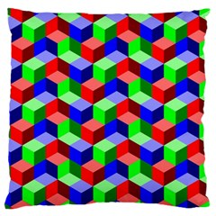 Seamless Rgb Isometric Cubes Pattern Large Cushion Case (two Sides)