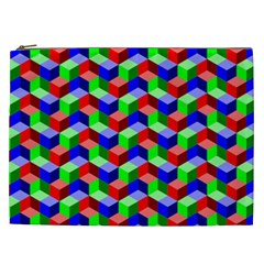 Seamless Rgb Isometric Cubes Pattern Cosmetic Bag (xxl)