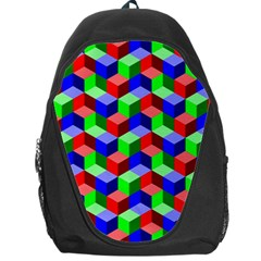 Seamless Rgb Isometric Cubes Pattern Backpack Bag