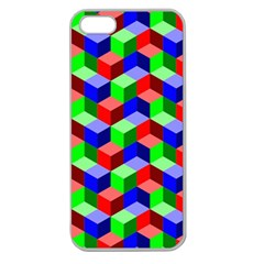 Seamless Rgb Isometric Cubes Pattern Apple Seamless Iphone 5 Case (clear)