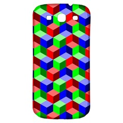 Seamless Rgb Isometric Cubes Pattern Samsung Galaxy S3 S Iii Classic Hardshell Back Case