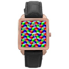 Seamless Rgb Isometric Cubes Pattern Rose Gold Leather Watch