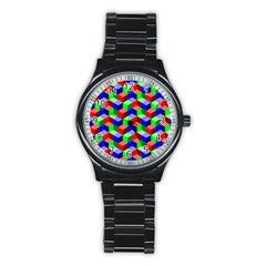 Seamless Rgb Isometric Cubes Pattern Stainless Steel Round Watch