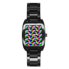 Seamless Rgb Isometric Cubes Pattern Stainless Steel Barrel Watch