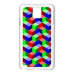 Seamless Rgb Isometric Cubes Pattern Samsung Galaxy Note 3 N9005 Case (white)