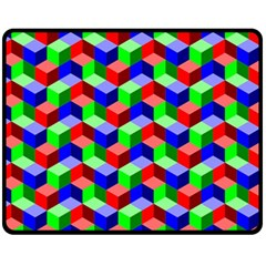 Seamless Rgb Isometric Cubes Pattern Double Sided Fleece Blanket (medium)