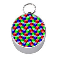 Seamless Rgb Isometric Cubes Pattern Mini Silver Compasses