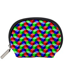 Seamless Rgb Isometric Cubes Pattern Accessory Pouches (small)