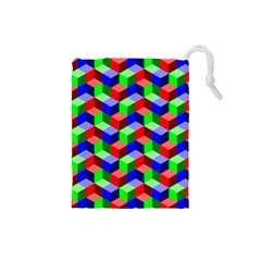 Seamless Rgb Isometric Cubes Pattern Drawstring Pouches (Small)