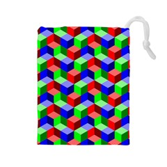Seamless Rgb Isometric Cubes Pattern Drawstring Pouches (Large)