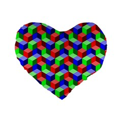 Seamless Rgb Isometric Cubes Pattern Standard 16  Premium Flano Heart Shape Cushions