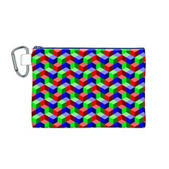 Seamless Rgb Isometric Cubes Pattern Canvas Cosmetic Bag (m)
