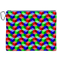 Seamless Rgb Isometric Cubes Pattern Canvas Cosmetic Bag (XXXL)