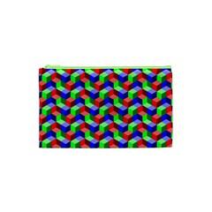 Seamless Rgb Isometric Cubes Pattern Cosmetic Bag (xs)