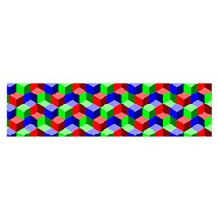 Seamless Rgb Isometric Cubes Pattern Satin Scarf (oblong)